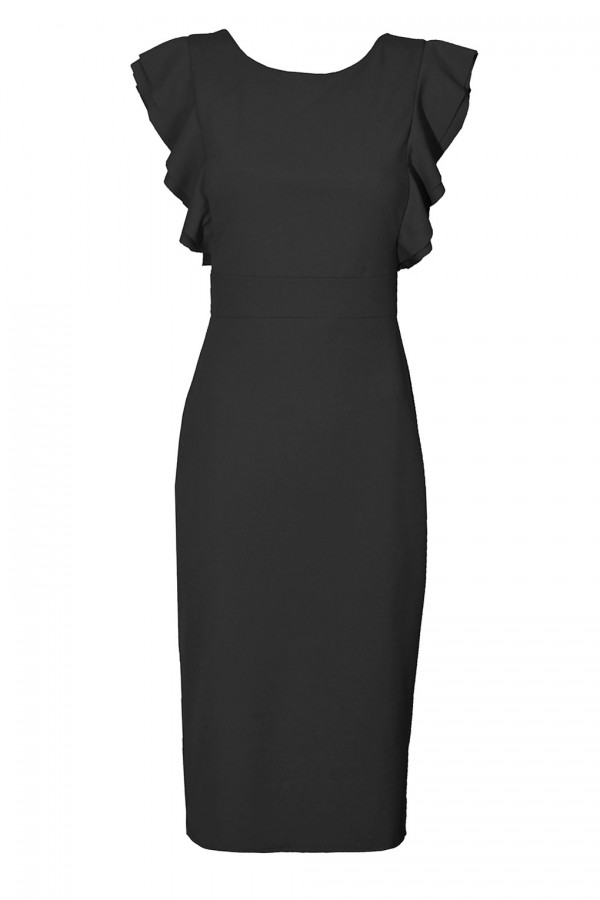 WalG Ruffle Trim Black Midi Dress