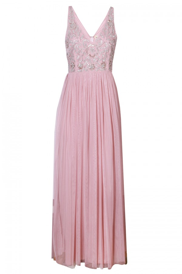 Lace & Beads Johanna Pink Embellished Maxi Dress