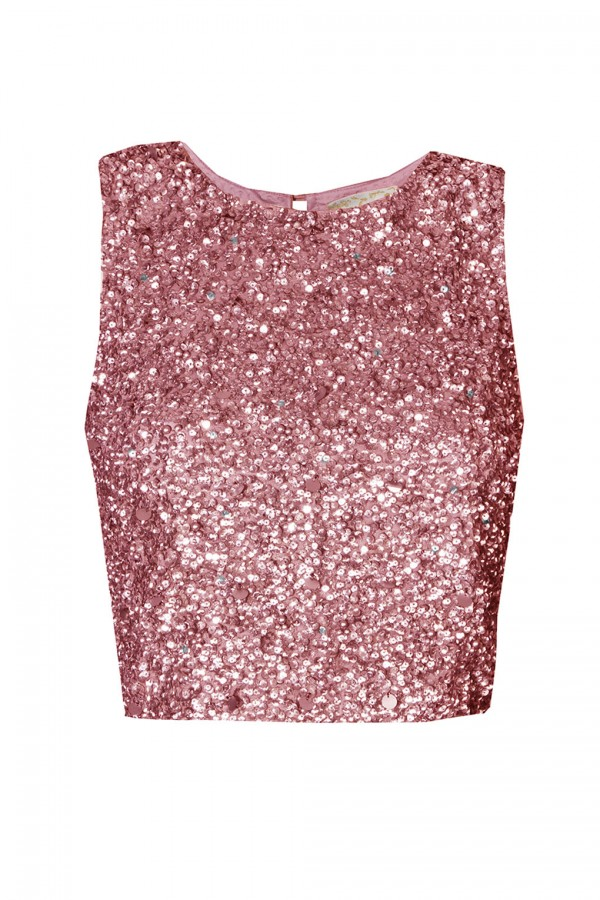 Lace & Beads Picasso Fuchsia Sequin Top