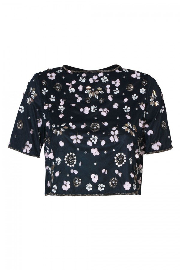 Lace & Beads Baby Navy Top