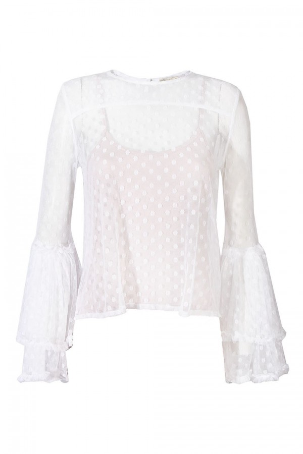 Lace & Beads Magpie White Sheer Top