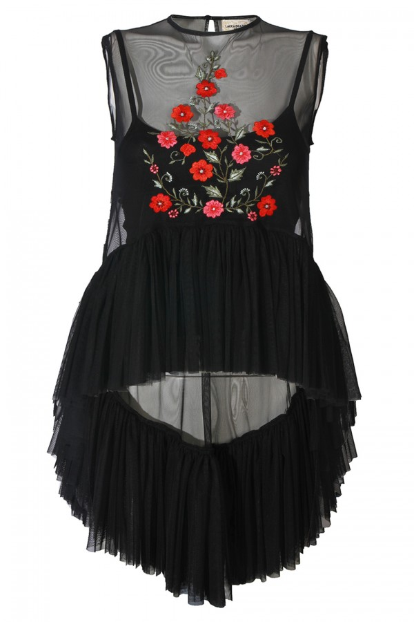 Lace & Beads Flamingo Floral Black Sheer Top