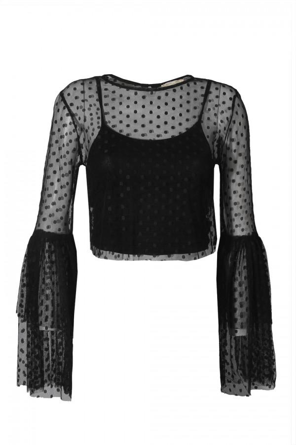 Lace & Beads Loon Black Sheer Crop Top