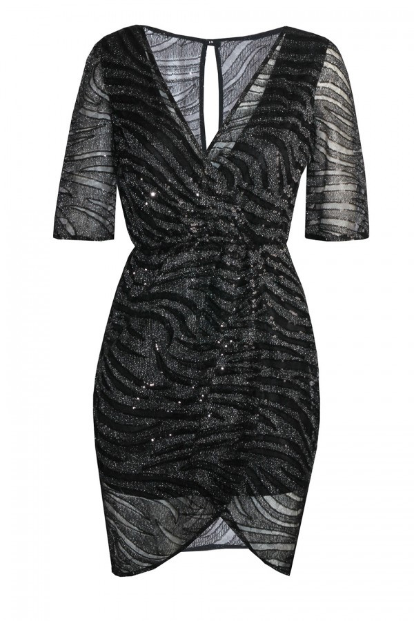 TFNC Gina Black Sequin Dress