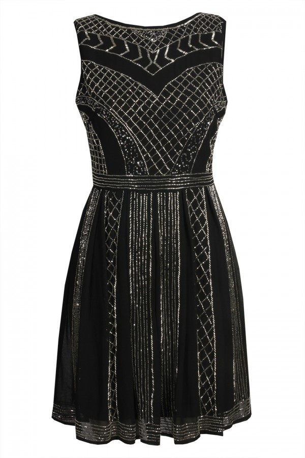 Lace & Beads Dolores Black Embellished Dress
