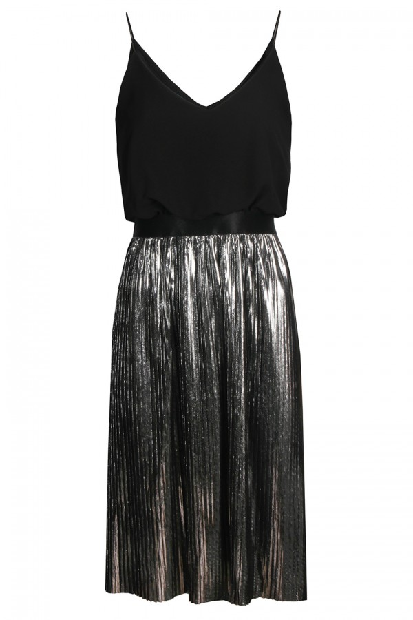 TFNC Andria Metallic Silver Midi Dress