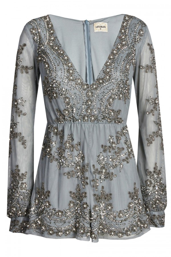 Lace & Beads Esme Grey Playsuit