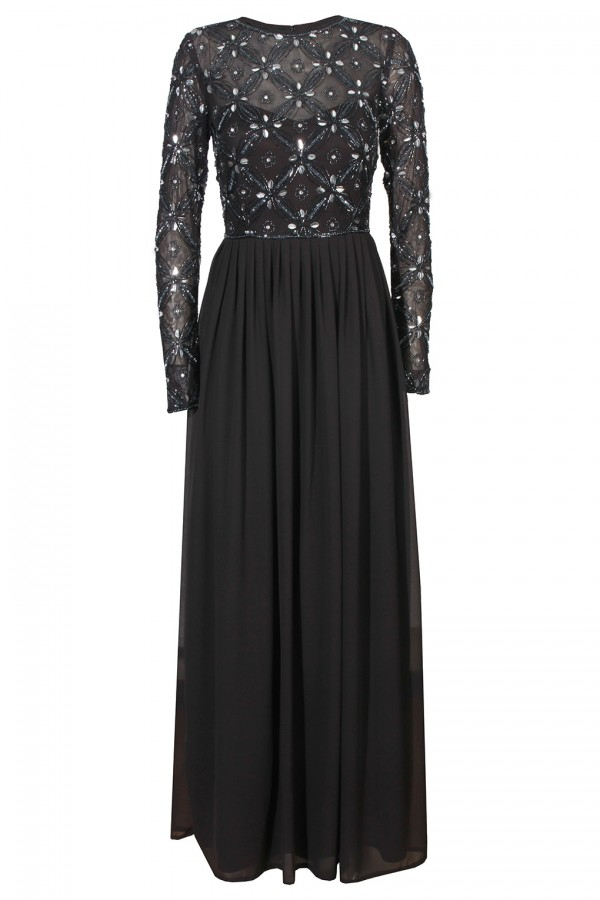 Lace & Beads Carnation Dark Grey Maxi Dress