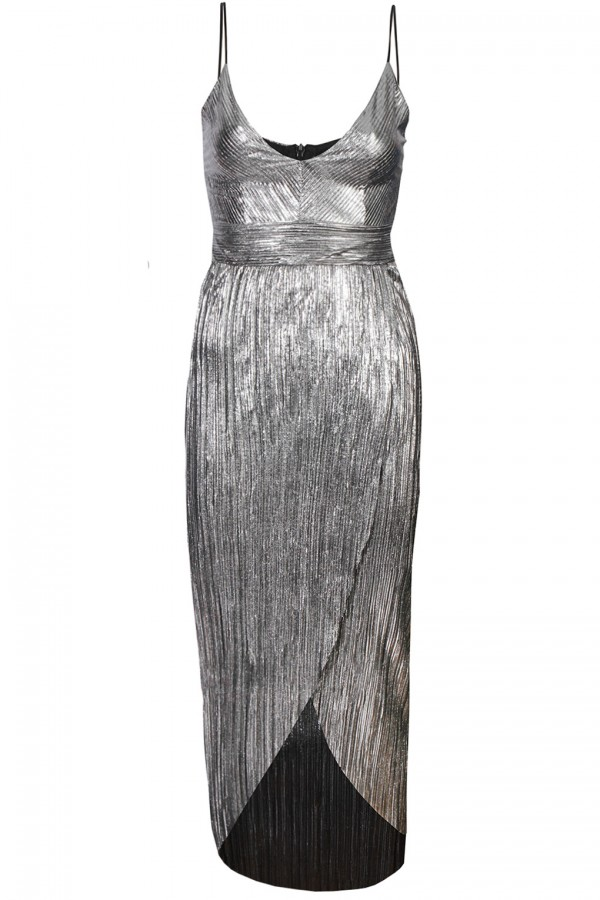 TFNC Samantha Metallic Silver Midi Dress