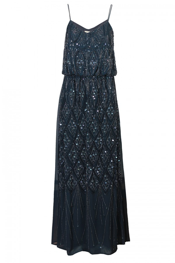 Lace & Beads Kelt Navy Embellished Maxi Dress