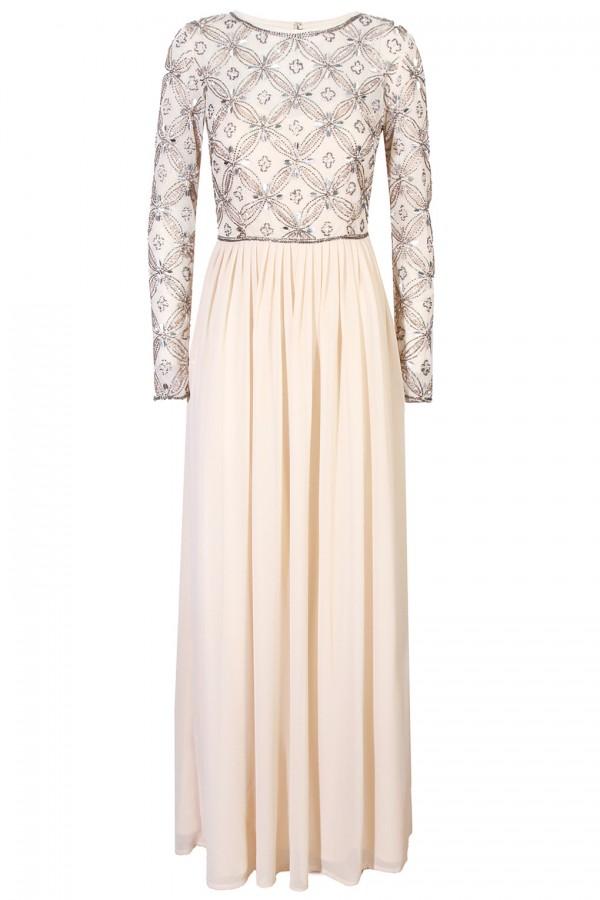 Lace & Beads Carnation Cream Maxi Dress