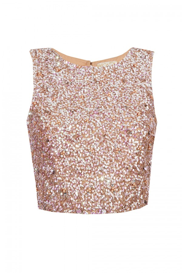 Lace & Beads Picasso Nude Sequin Top