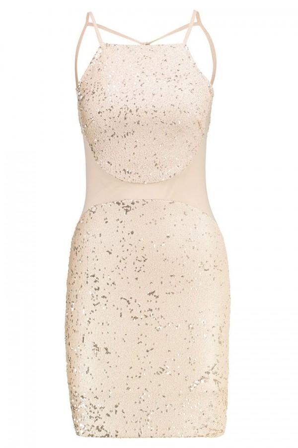 TFNC Salma Sequin Gold Dress