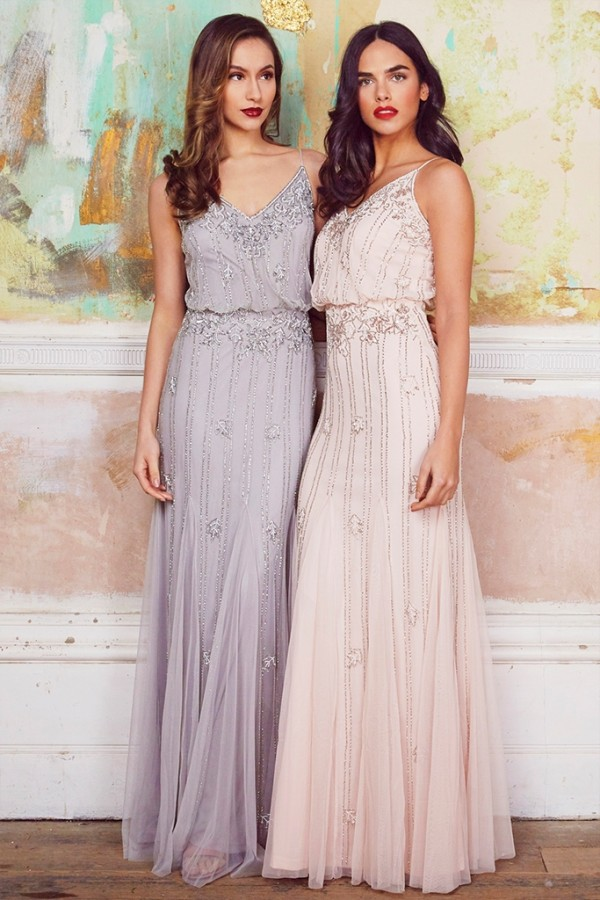 Lace & Beads Keeva Light Grey Maxi Dress