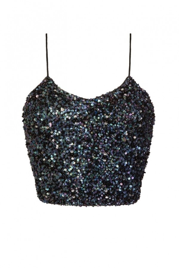 Lace & Beads Sandy Iridescent Black Sequin Top