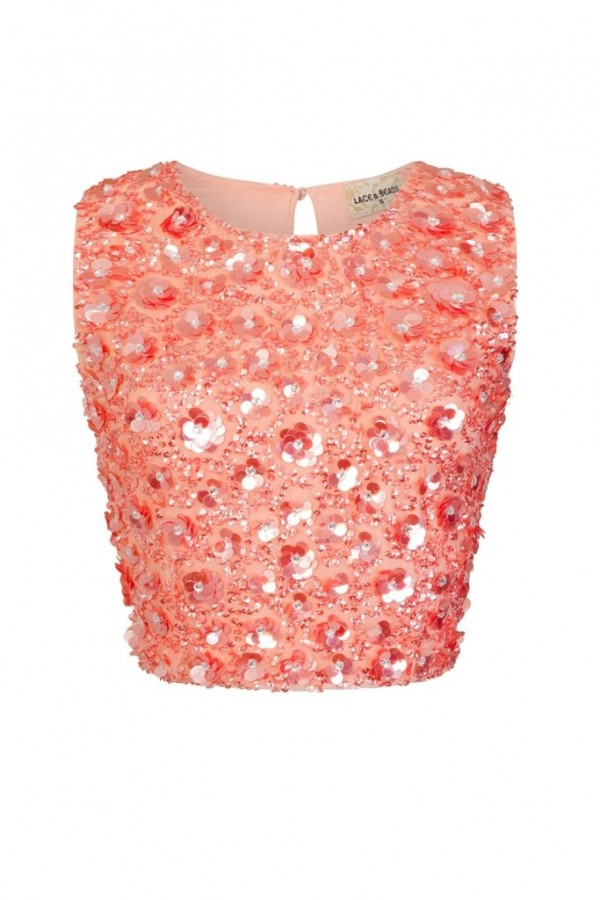 Lace & Beads Hazel Coral Sequin Top