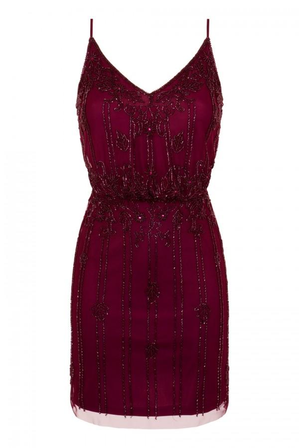 Lace & Beads Keeva Burgundy Mini Dress