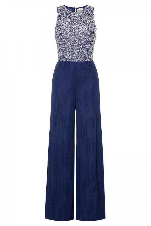Lace & Beads Picasso Navy Sequin Jumpsuit