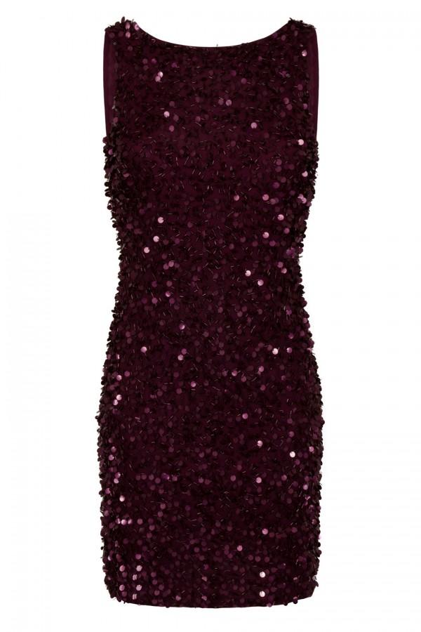 Lace & Beads Mahir Burgundy Sequin Mini Dress