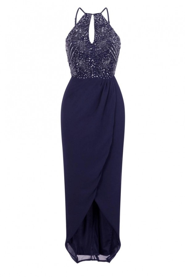 Lace & Beads Basia Navy Wrap Dress
