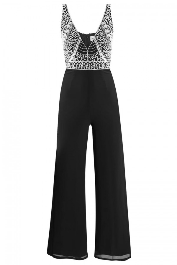 Lace & Beads Teardrop Black Jumpsuit