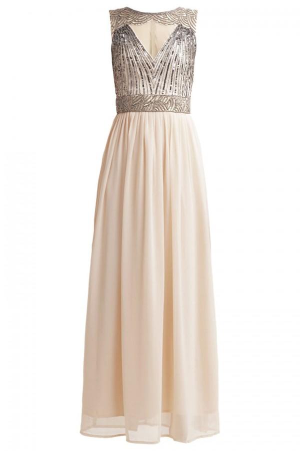 Lace & Beads Tina Nude Maxi Dress