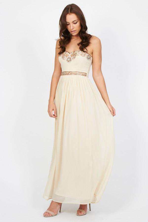 Lace & Beads Melissa Cream Maxi Dress