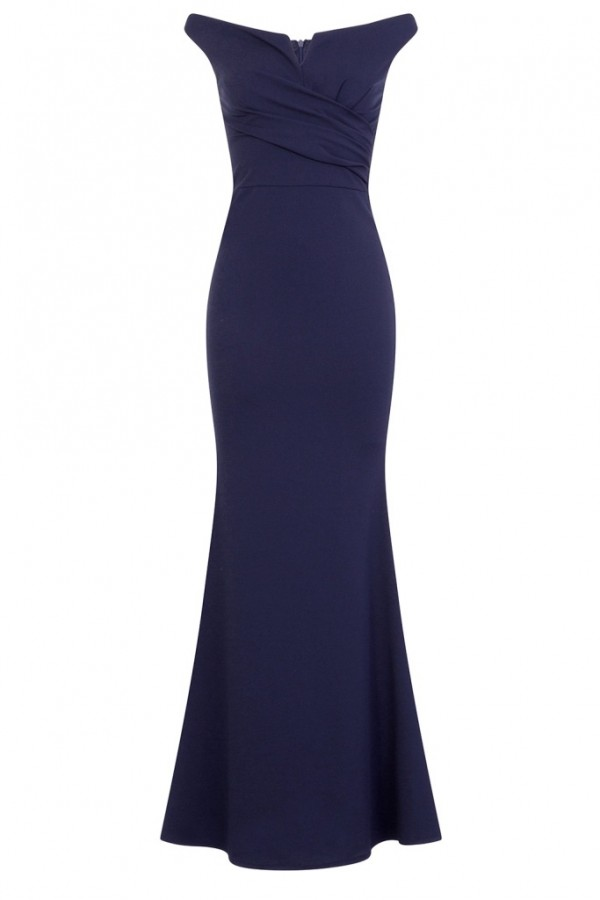 WalG Off Shoulder Navy Maxi Dress