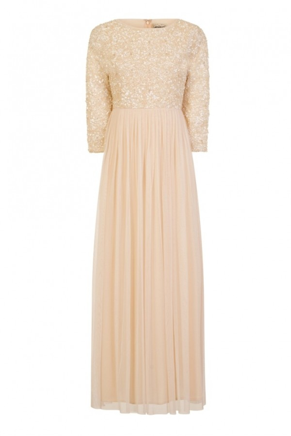 Lace & Beads Picasso Long Sleeved Cream Embellished Maxi Dress