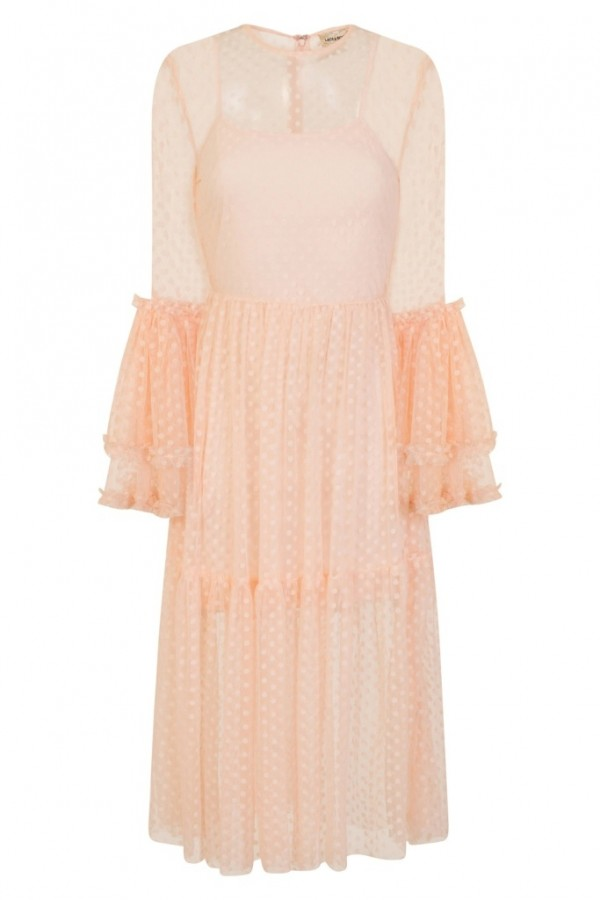 Lace & Beads Raven Nude Sheer Dress
