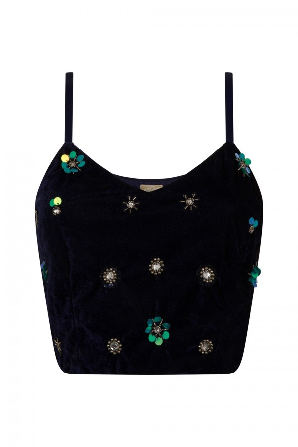 Lace & Beads Rory Velvet Navy Crop Top