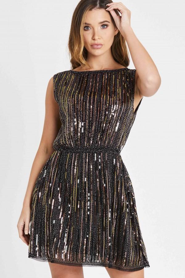 Skirt & Stiletto Paris Cooper and Black Beaded Mini Dress