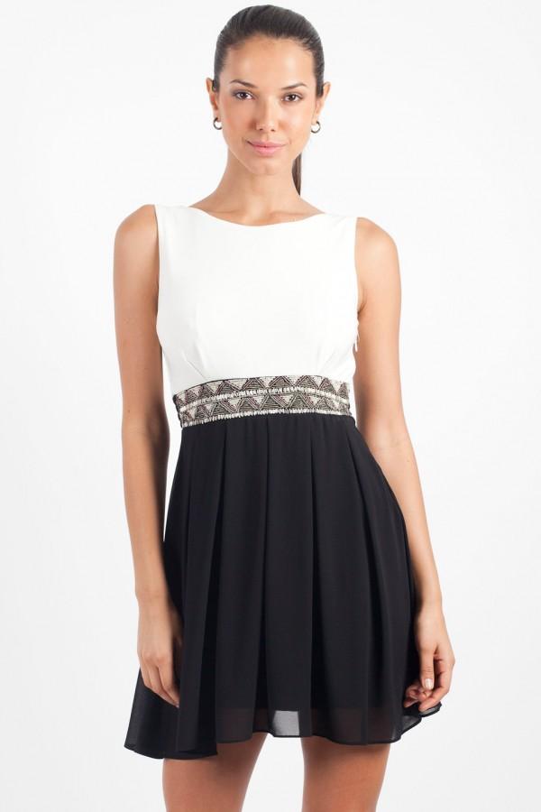 TFNC Dacey Black Embellished Cut Out Dress