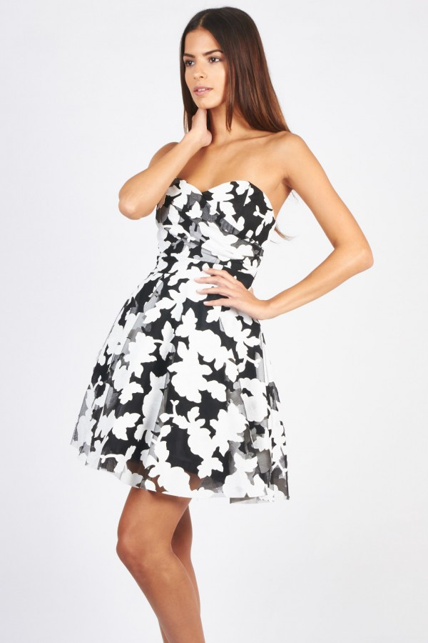 TFNC Tibi Black Floral Bandeau Dress