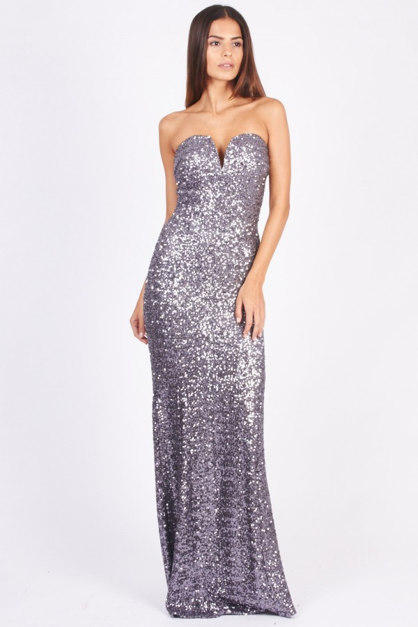 TFNC Gaynor Gunmetal Sequin Maxi Dress