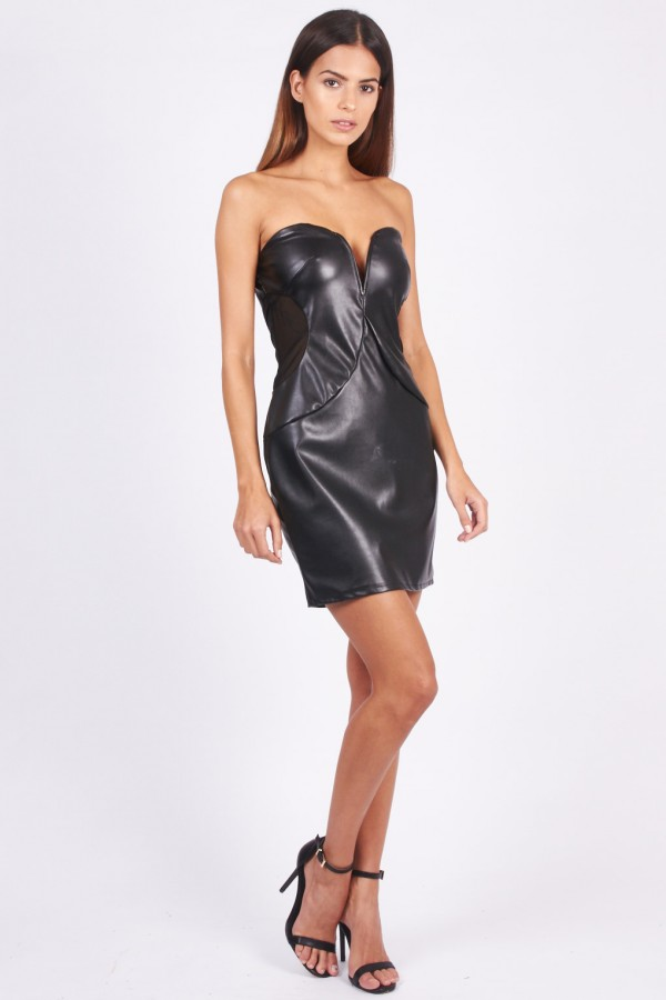 TFNC Halo PVC Black Mini Dress