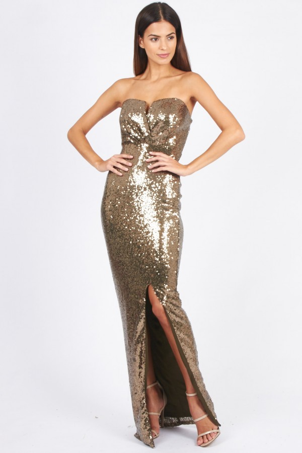 TFNC Britania Gold Sequin Maxi Dress