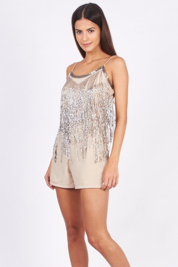 Lace & Beads Dangle Beige Playsuit