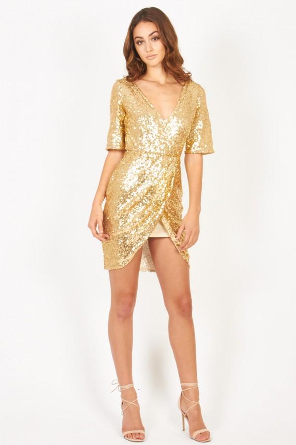 TFNC Gin Gold Sequin Dress