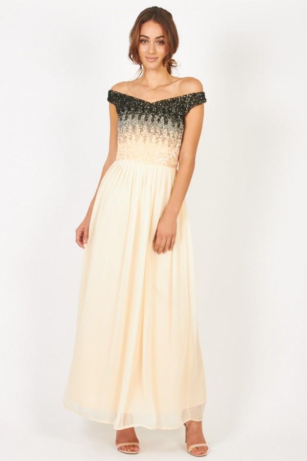 Lace & Beads Jenny Cream Maxi Dress