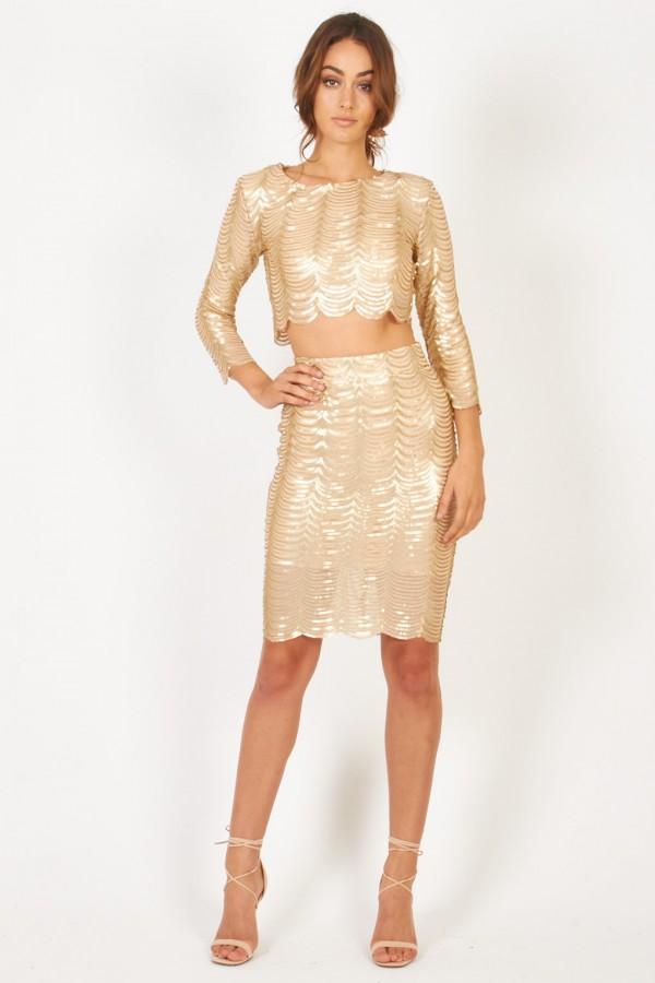 TFNC Scallop Sequin Gold Skirt