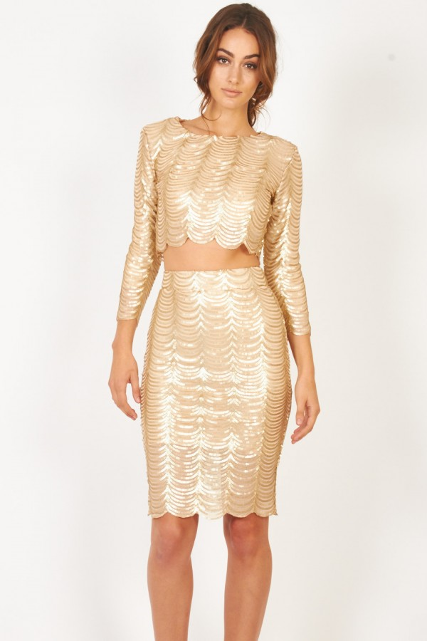 TFNC Scallop Sequin Gold Top