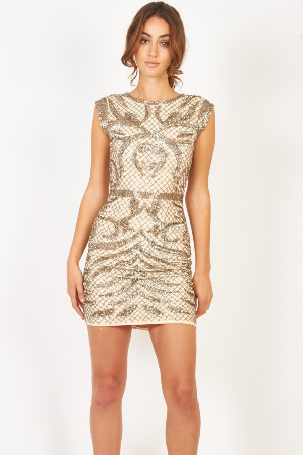 Lace & Beads Malta Nude Embellished Dress