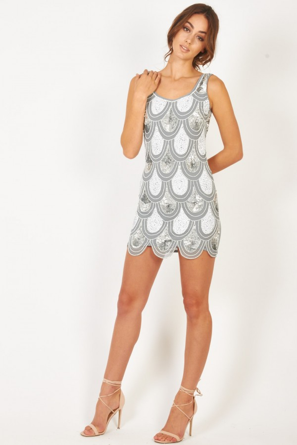 Lace & Beads Angela Grey Sequin Dress