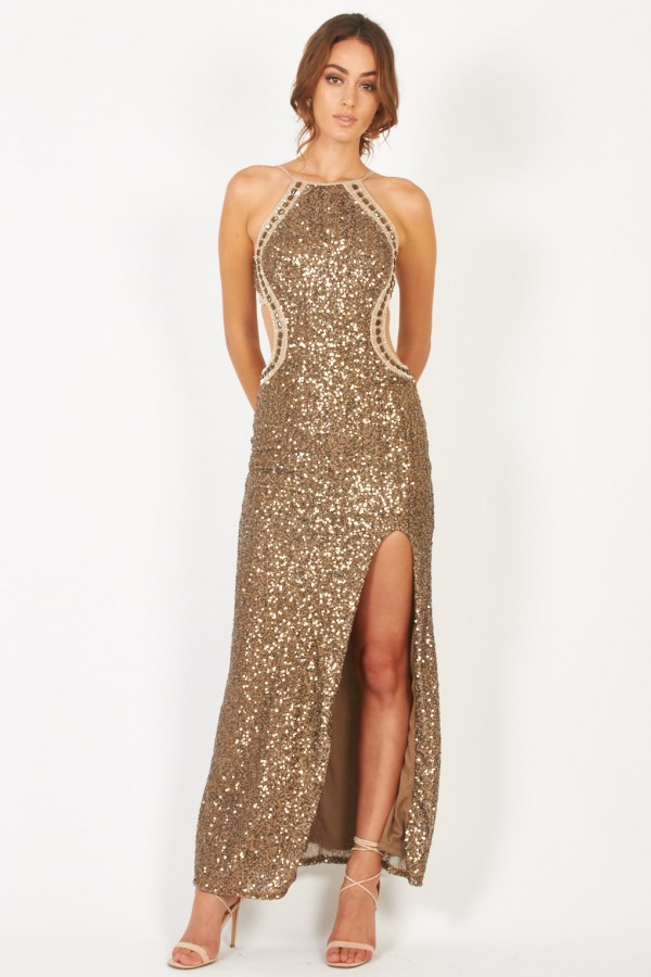 TFNC Cahya Gold Sequin Maxi Dress