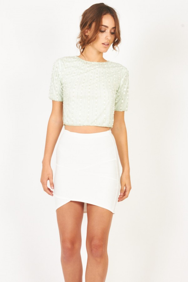 Lace & Beads Daisy Mint Top