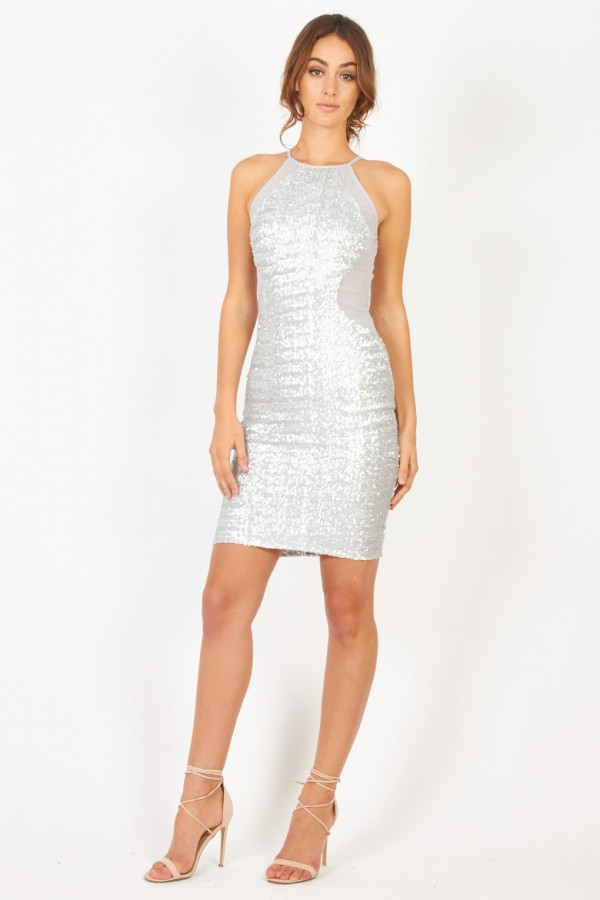 TFNC Livia Sliver Sequin Dress