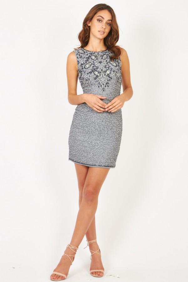 Lace & Beads Kenya Grey Embellished Dress