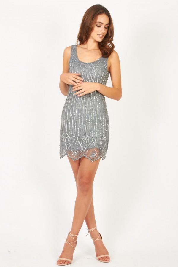 Lace & Beads Megan Grey Embellished Dress
