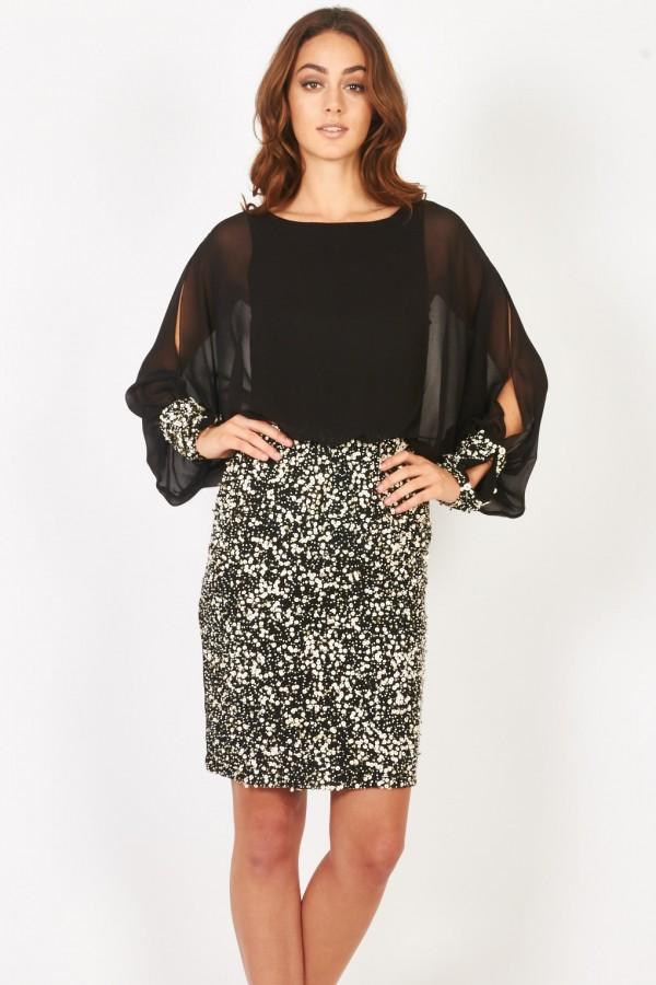 Lace & Beads Rosyka Black Embellished Dress